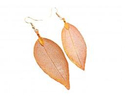 Orange Dipped Acid Etched Real Leaf Hook Earrings