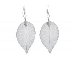 Silver Dipped Acid Etched Real Leaf Earrings Hook
