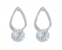 Silver Teardrop Crystal CZ Post Earring