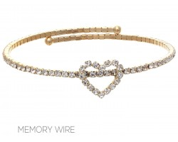 Gold Crystal Heart Wire Bracelet