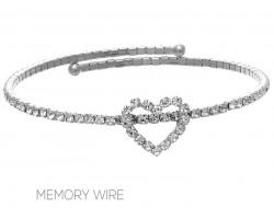 Silver Crystal Heart Wire Bracelet