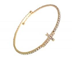 Gold Crystal Cross Wire Bracelet