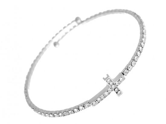 Silver Crystal Cross Wire Bracelet