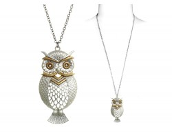 Silver Matte Etched Owl Chain Necklace