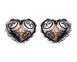 Two Tone Filigree Crystal Heart Post Earring