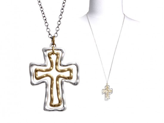 Silver Gold Wire Cross Necklace