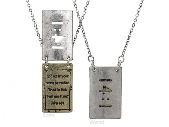 Silver Gold John 14:1 Pendant Necklace