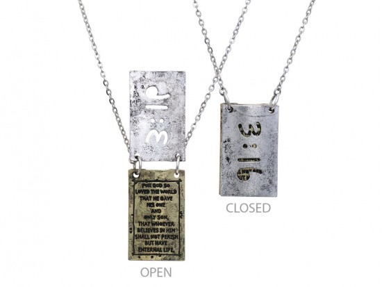 Silver Gold John 3:16 Pendant Necklace