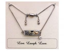 Silver LOVE Heart Crystal Charm Bracelet