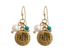 Antique Gold Faith Charm Hook Earrings