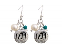 Silver Faith Charm Hook Earrings