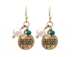 Antique Gold Blessed Charm Hook Earrings