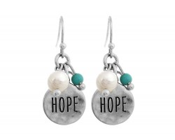 Silver Hope Charm Hook Earrings