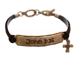 Gold John 3:16 Leather Bracelet