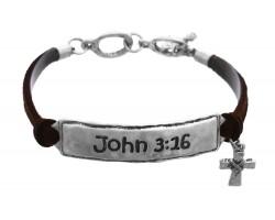 Silver John 3:16 Leather Bracelet