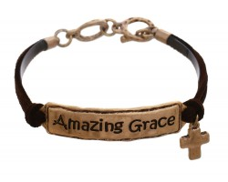 Gold Amazing Grace Leather Bracelet