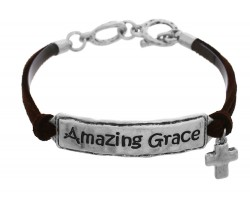 Silver Amazing Grace Leather Bracelet