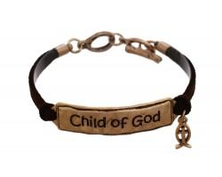 Gold Child of God Leather Bracelet