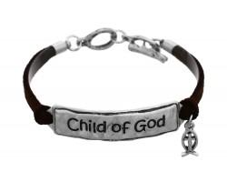 Silver Child of God Leather Bracelet