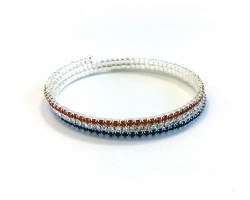 Red White Blue Crystal Memory Wire Wrap Bracelet