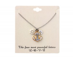 Silver Anchor Ring Charm Necklace