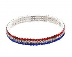 Red White Blue Crystal Stretch Bracelet