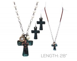 Patina Cross Gold Fleur De Lis Bullet Back Necklace Set