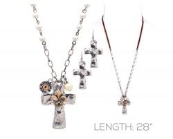 Silver Cross Gold Fleur De Lis Bullet Back Necklace Set