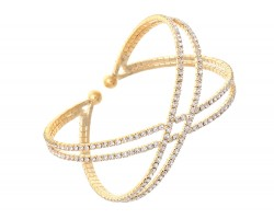Gold Crystal Double Infinity Memory Wire Bracelet