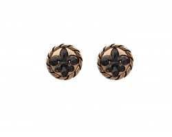 Black Gold Fleur De Lis Rope Post Earrings