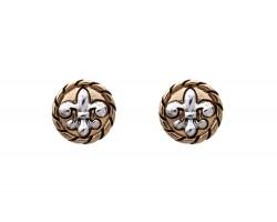 Gold Fleur De Lis Silver Rope Post Earrings