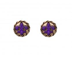 Purple Gold Fleur De Lis Rope Post Earrings