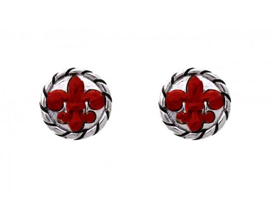 Red Silver Fleur De Lis Rope Post Earrings