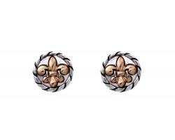 Silver Fleur De Lis Gold Rope Post Earrings