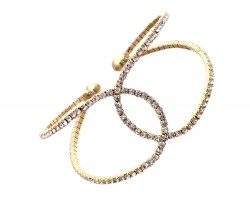 Gold Clear Crystal Channel Memory Wire Bracelet