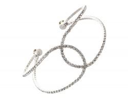 Silver Clear Crystal Channel Memory Wire Bracelet