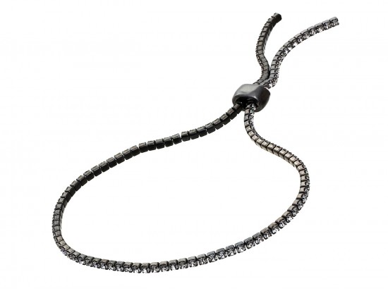 Gunmetal Clear Crystal Slide Rope Chain Bracelet