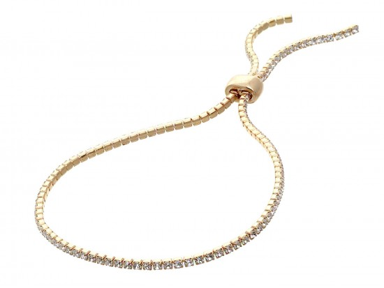 Gold Clear Crystal Slide Rope Chain Bracelet