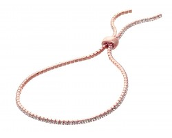 Rose Gold Clear Crystal Slide Rope Chain Bracelet