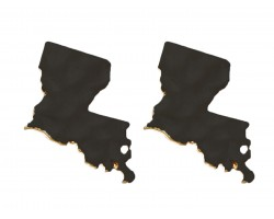 Black Gold Louisiana State Map Hammered Post Earring