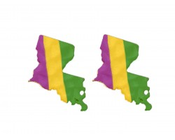 Mardi Gras Louisiana State Map Hammered Post Earring