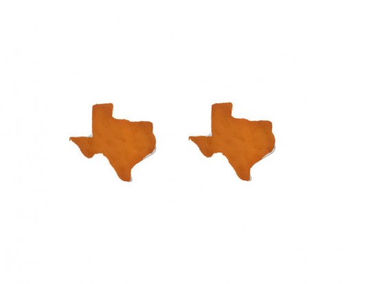 Orange Texas State Map Hammered Post Earring