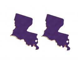 Purple Gold Louisiana State Map Hammered Post Earring
