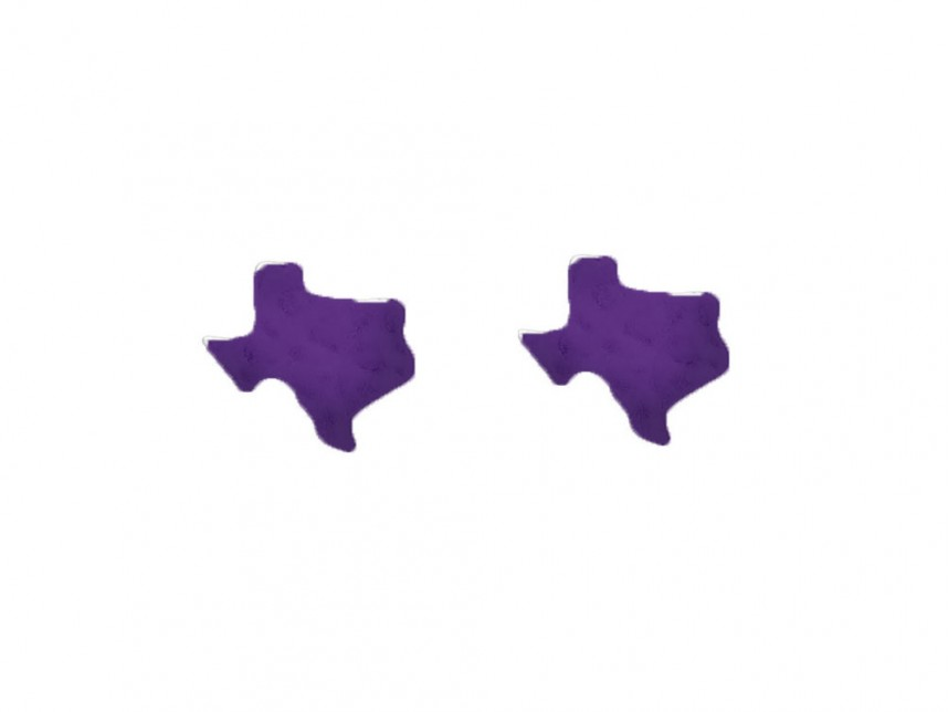 Purple State Map.Purple Texas State Map Hammered Post Earring Rm29757ps Tx
