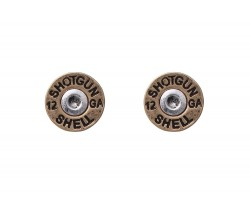 Gold Shotgun Bullet Back Post Earrings