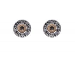 Silver Shotgun Bullet Back Post Earrings