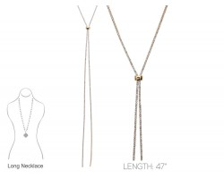 Gold Clear Crystal Rope Chain Lanyard Necklace