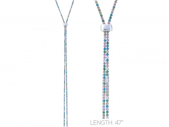 Light Multi Crystal Rope Silver Chain Lanyard Necklace