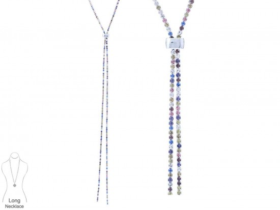 Multi Crystal Silver Chain Lanyard Necklace