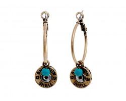Gold Shotgun Bullet Back  Hoop Post Earrings